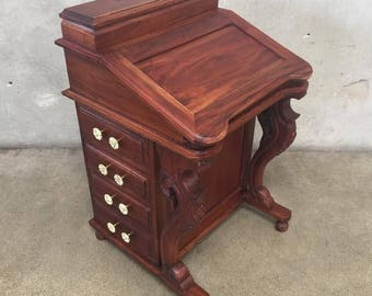 Vintage 1800's Davenport Ship Captain's Mahogany Desk (8K2UT5)