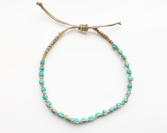 Beaded Hemp Anklet