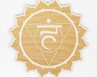 Throat Chakra Wood Sign - Spiritual Wall Art, Wood Chakra, Chakra Symbol, Throat Chakra Symbol, Chakra Sign, Visuddha Symbol