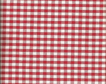 """Red and White checked Curtain Fabric  1 yard  (47"""" wide)"""