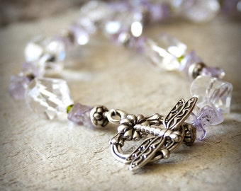 Dragonfly Necklace ametrine rock crystal sterling silver semiprecious geometric purple peridot green