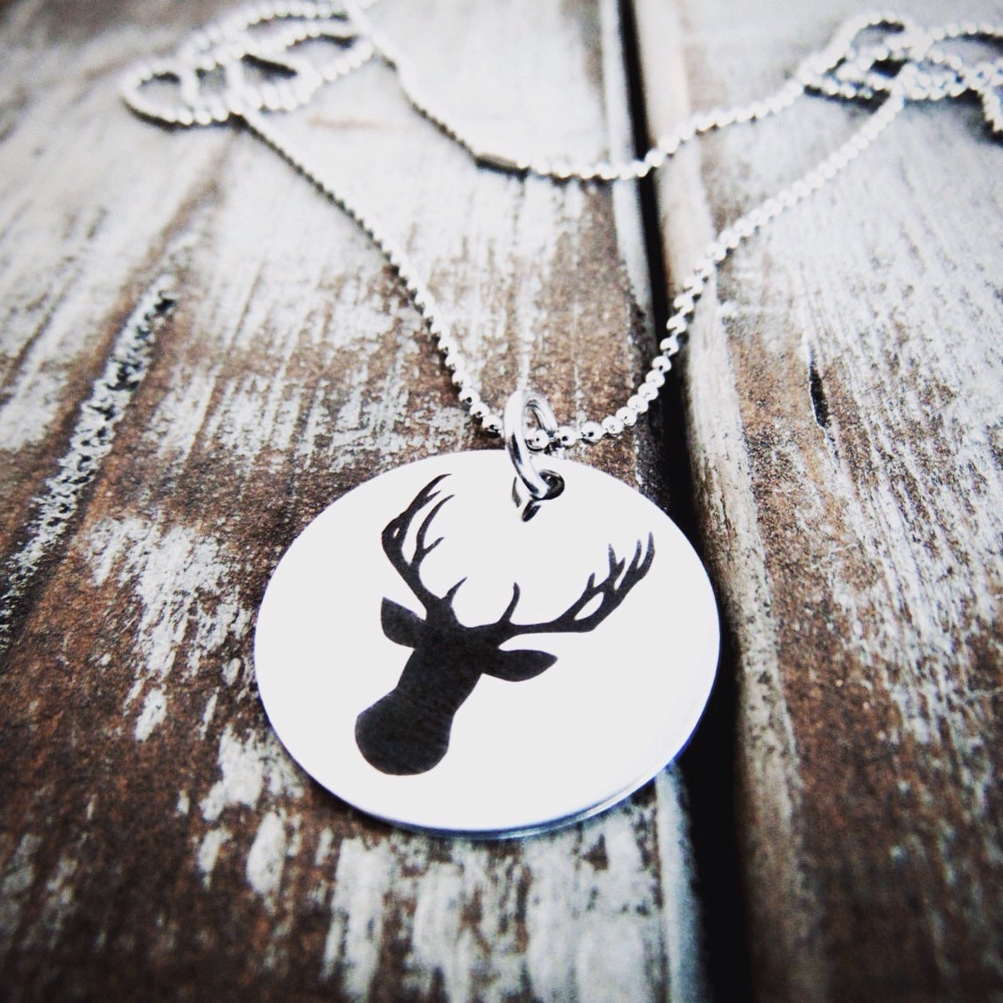 Deer necklace steel gold or rose gold stagdeerantler pendant deer necklace steel gold or rose gold stagdeerantler pendant customized back option engraved silhouette deer head graphic charm aloadofball Gallery