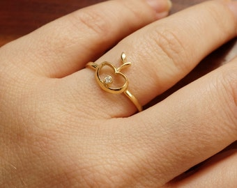 Minimalist ring-Unique Gold Diamond Ring-14k Yellow Gold Ring-Apple Dainty Jewelry-Girls ring-Fruit ring-Stackable ring-Statement ring