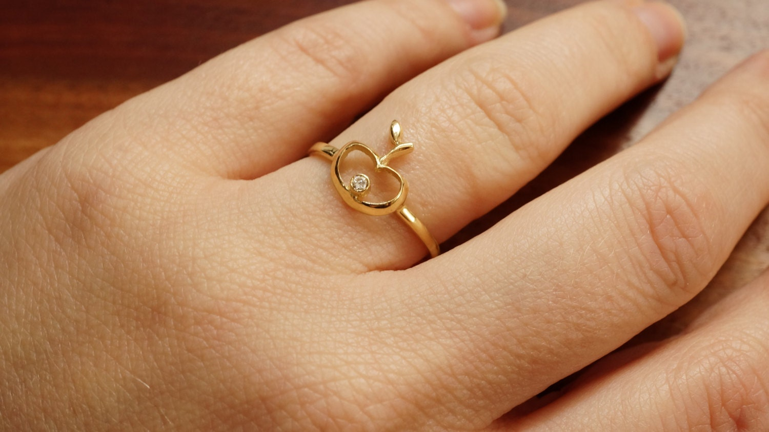 Minimalist ring-Unique Gold Diamond Ring-14k Yellow Gold