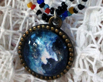 Witch Necklace, Witch Head, Vintage Skeleton, Spellbinding Nebula Necklace Bead Galaxy Necklace Witch Head Nebula Necklace