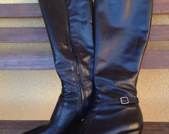 Black Leather Boots, Ladies Knee High Boots, Size 6M Boots, Pointy Leather Boots, Ladies Black Boots, Genuine Leather Boots, MIA Boots 6M