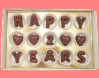 2nd Second Year Anniversary Gift Boyfriend Man Him Girlfriend Her Husband Wife Couple Happy 2 Two Years Milk Chocolate Letters Message Cute