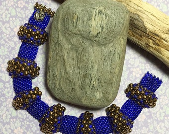 3D Bead Bracelet Blue Brass Bracelet Peyote Bead Bracelet Seed Bead Bracelet Bubble Bracelet Bead Woven Bracelet Size 7 Bracelet