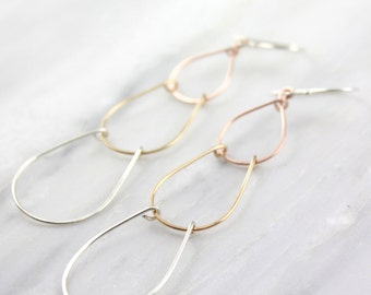 Rose Gold, Yellow Gold and Silver Teardrop Earrings