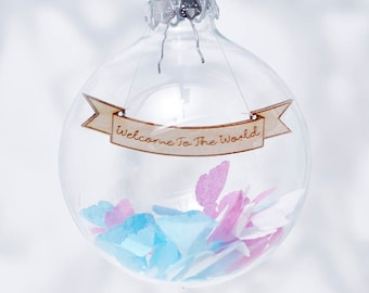 Personalised New Baby Confetti Bauble