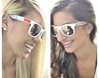Red White and Blue 4th of July and World Cup Crystalized Sunglasses
