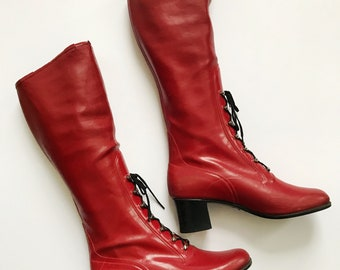 1970s / 70s Vintage Red Rubber Rain Boots / Marianne Toter by Tretorn Sweden / 38