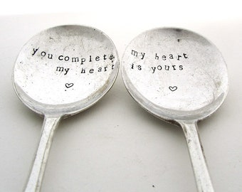 You Complete My Heart, Pair of Handstamped Vintage Dessertspoons, Valentines Gift, Hand Stamped Lovers' Spoons