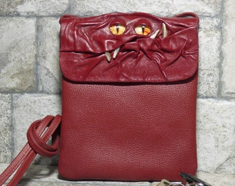 Small Cross Body Purse Pouch Monster Face Red Leather Harry Potter Labyrinth 433