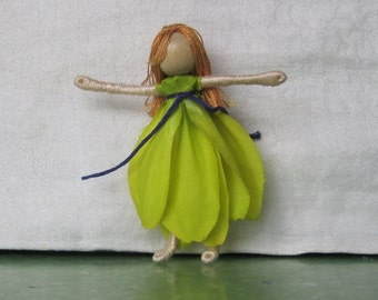 Waldorf Flower Fairy Doll - Lime -  Art Doll - Bendy Doll - Nature Table Doll