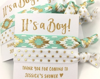 Personalized Baby Shower Favors | It's A Boy | Gender Neutral Baby Shower | Hair Tie Favors |  Aqua and Gold | Custom Baby Shower Favors