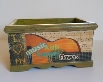 Planter for Herbs Decoupage Garden Guitar Gift for Musician