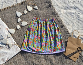 Hippy Dippy Skirt - Reversible with Purple Sateen Cotton Inside