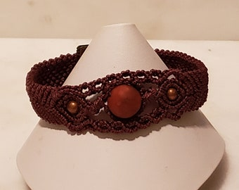 Micro Macrame Polymer Clay Beaded Bracelet - Beautifully Brown