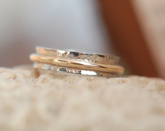 White and Yellow Gold Hammered Wedding Band