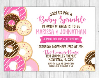 Doughnuts Baby Sprinkle Baby Shower Invitation