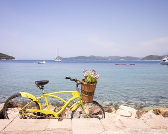 Croatian Coastline with Yellow Bike Print