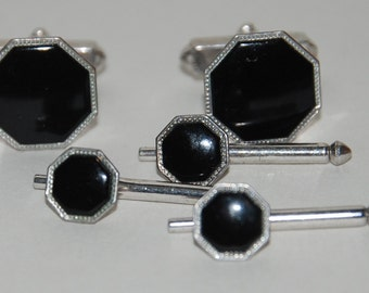 1950s Era Formal Tuxedo Studs and Links Set in black by Swank-- Free USA Shipping!