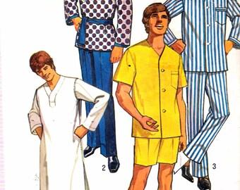 """Vintage 1971 Simplicity 9433 Men's Set of Pajamas, Sash & Nightshirt Sewing Pattern Size X-Large Chest 46"""" - 48"""""""
