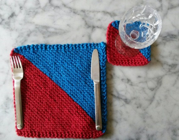 Knit placemats: handknit chunky wool place mats; matching coasters available. Red & blue. Made in Ireland. Housewarming gift. Table decor.