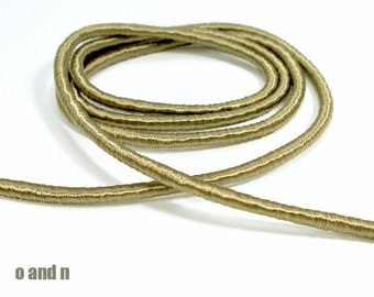 Wrapped silk cord, satin cord, satin beige, 2 meters