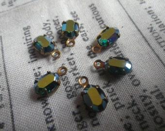 Emerald AB Vintage Swarovski Oval 7x5mm Glass Drops 6 Pcs