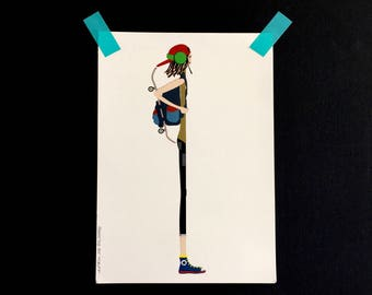 Color print skater Boy, illustration from the series Thins