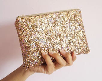 Pale Gold Rainbow Glitter Makeup Bag, Sparkly Gold Rainbow Glitter Cosmetic Bag, Gold Wedding Bag, Gold Rainbow Cosmetic Bag, Spring Wedding