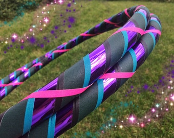 Playful Peacock Dance & Exercise Hula Hoop COLLAPSIBLE or Push button - purple green teal pink