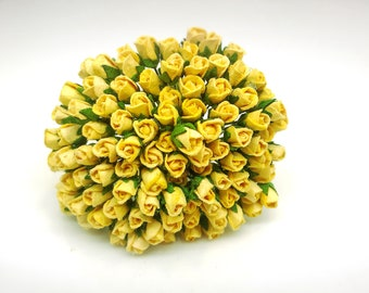 100 Tiny muted yellow Rose Bud Mulberry Paper Craft Supplies Scrapbook Card #144