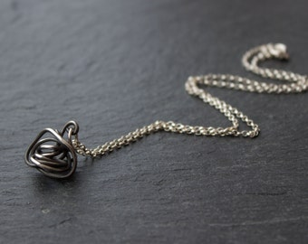 Eco Silver Wire Twist Pendant Handmade Gift for Her, oxidized recycled silver pendant, Valentine's Day gift for her