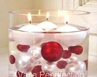Red & White Pearls - Jumbo/Assorted Sizes Vase Fillers for Centerpieces