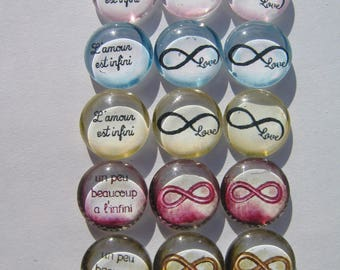 Set of 15 Cabochons 14 mm with messages of love and infinite signs