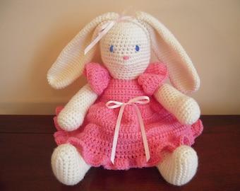 Crocheted Stuffed Amigurumi Bunny Rabbit with Dress