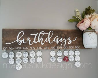Family Birthday Board, Celebration Board, Birthday Calendar, Family Celebrations, Brown Stained Distressed and White Wall Hanging
