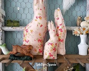 Bunny Rabbit, Stuffed Fabric Bunny, Fabric Rabbit, Rabbit Pillow, Easter Bunny, Cloth Rabbit, Easter Decor, Pink Bunnies, Shabby Chic Rabbit
