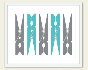 Laundry Wall Art, Laundry Room Art Print, Clothespins Art Print, Laundry Room Decor, Modern Decor, Custom Colors, frame not included