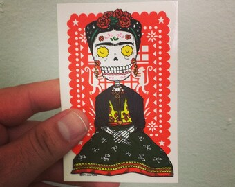 Frida Calavera Vinyl Sticker Day of the Dead