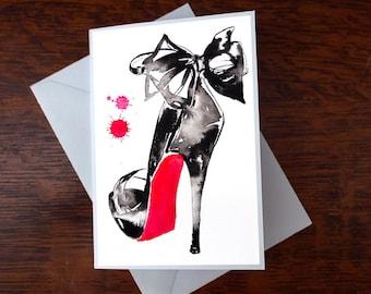 Greeting Card Black Ink High Heel Shoe Original Watercolor Painting Fashion Illustration Heels OOAK Art Print