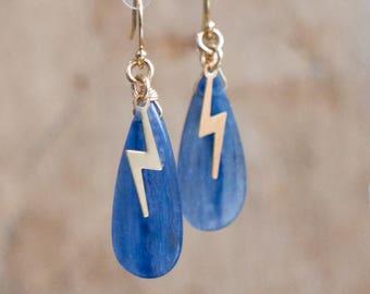 Blue Kyanite Earrings,  Lightning Bolt Earrings, Blue Gold Drop Earrings, Unique Jewellery, Thunderbolt Earrings, OOAK Jewelry, Gift for Her