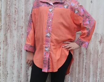 Handdyed silk and digital print cotton shirt