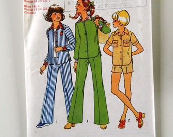 Simplicity Vintage Sewing Pattern  6824 Size 12.5 & 14.5 Girls and Chubbies Shirt and Pants and Shorts 1970s