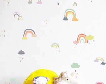 Wall Decal - Rainy Rainbows Colorful Compilation - Wall Sticker - Room Decor
