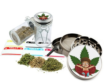 "Smoking Leaf Design - 2.5"" Zinc Alloy Grinder & 75ml Locking Top Glass Jar Combo Gift Set Item # G50-102615-3"