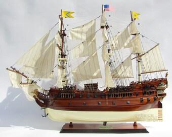 """USS Bonhomme Richard 1765 Tall Ship Assembled 34"""" Built Wooden Model Ship"""